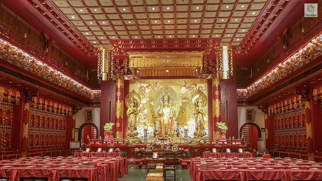 Inside Buddha Tooth Relic Temple at Chinatown